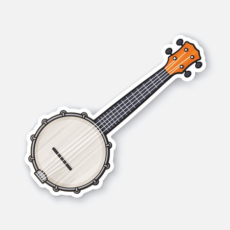 Sticker of classic country music banjo Illustration