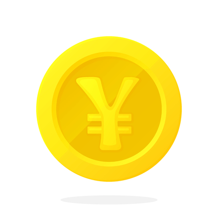 Gold coin of Japanese yen or Chinese Yuan in flat style Illustration