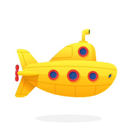Toy yellow submarine in flat style