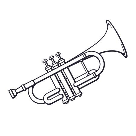 Doodle der klassischen Musik Blasinstrument Trompete