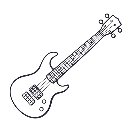 Doodle of rock electro or bass guitar 向量圖像