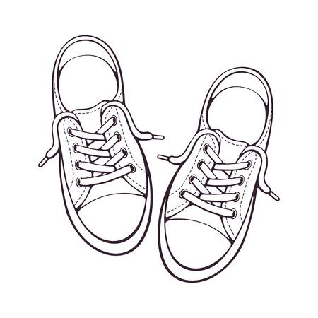 Vector illustratie. Paar textiele sneaker met rubberen neus en losse vetersluiting. Hand getrokken doodle. Schoenen van moderne tienerskaters. Cartoon schets. Geïsoleerd op witte achtergrond