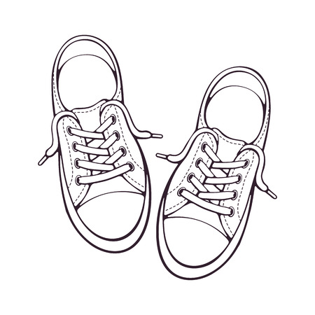 Vector illustration. Pair textile sneaker with rubber toe and loose lacing. Hand drawn doodle. Shoes of modern teenagers skaters. Cartoon sketch. Isolated on white background