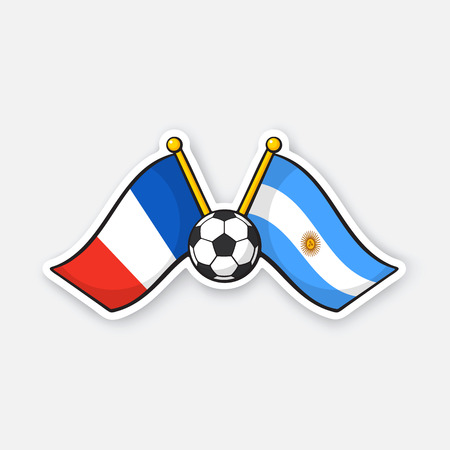Vector illustration. Two crossed national flags of France versus Argentine with soccer ball between them. International championship football. Sticker with contour. Isolated on white background