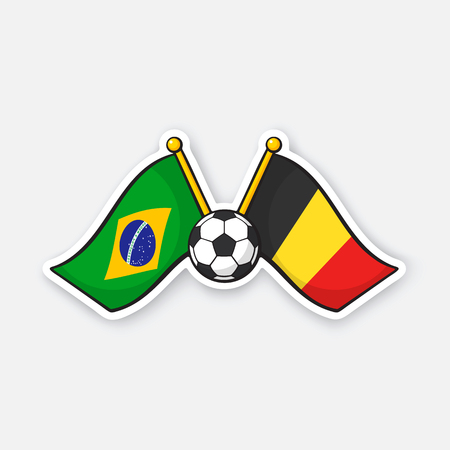 a4de7163e Two crossed national flags of Brazil versus Belgium with soccer ball  between them