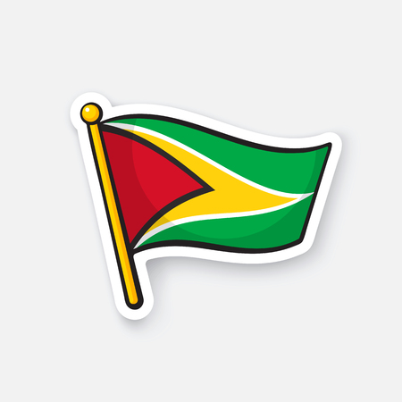 Vector illustration. National flag of Guyana on flagstaff. Location symbol for travelers. Sticker with contour. Decoration for patches, prints for clothes, badges. Isolated on white background