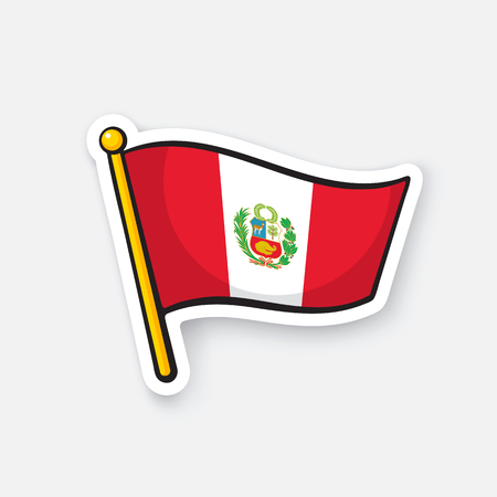 Vector illustration. National flag of Peru with coat of arms on flagstaff. Location symbol for travelers. Sticker with contour. Decoration for patches, badges. Isolated on white background