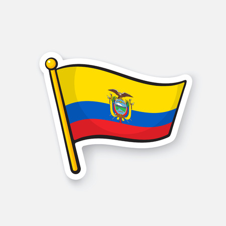 Vector illustration. National flag of Ecuador with coat of arms on flagstaff. Location symbol for travelers. Sticker with contour. Decoration for patches, badges. Isolated on white background