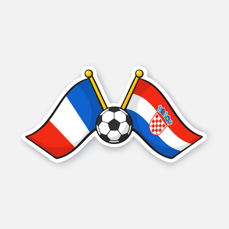 Vector illustration. Two crossed national flags of France versus Croatia with soccer ball between them. International championship football. Sticker with contour. Isolated on white background