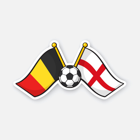 Vector illustration. Two crossed national flags of Belgium versus England with soccer ball between them. International championship football. Sticker with contour. Isolated on white background