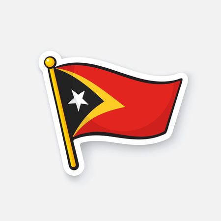 Vector illustration. National flag of East Timor on flagstaff. Location symbol for travelers. Sticker with contour. Decoration for patches, prints for clothes, badges. Isolated on white background