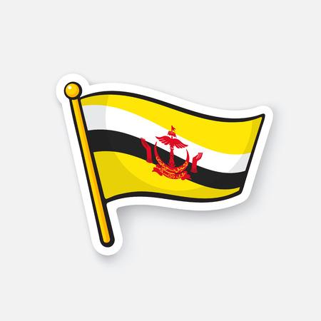 Vector illustration. National flag of Brunei on flagstaff.