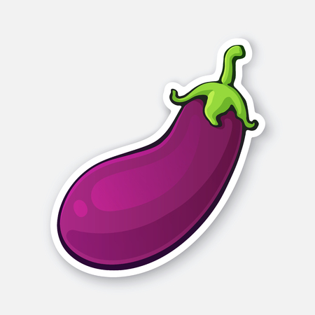 Vector illustration. Purple eggplant with green stem. Healthy vegetarian food. Ingredient for salad. Decoration for signboards, menus. Sticker of aubergine with contour. Isolated on white background Standard-Bild - 124357454