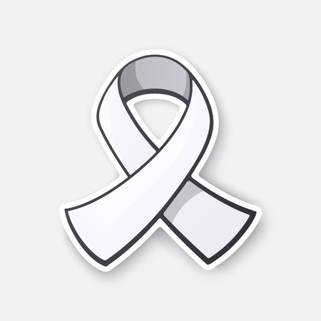 Vector illustration. White ribbon, international symbol of awareness about lung cancer, end male violence against women and girls. Sticker in cartoon style with contour. Isolated on white background 일러스트