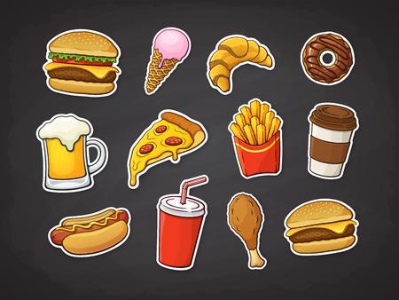 Ilustración vectorial. Conjunto de comida rápida. Rebanada de pizza, hamburguesa, hot dog, papas fritas, rosquilla, pierna de pollo frito, cerveza, helado, croissant, vaso de papel con soda, café. Pegatinas con contorno