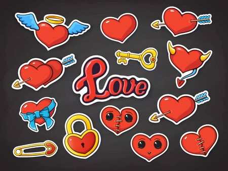 Vector illustration set of hearts for Valentines Day. Hearts with wings, horns, ribbon, scar, eyes, hearts pierced by an arrow and love lettering, heart-shaped lock, key and pin. Stickers with contour Ilustração
