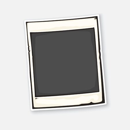 Vector illustration. Cute instant photo frame. Empty retro photo card in mockup style. Sticker with contour. Isolated on white background Illustration