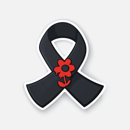 Vector illustration. Black ribbon with red flower. World day remembrance for road traffic victims. Sticker with contour. Isolated on white background