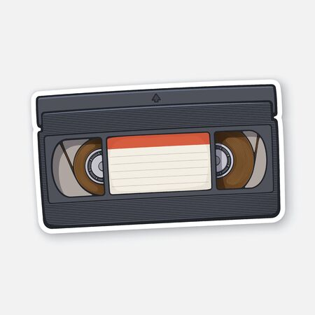 Vector illustration. VHS cassette. Video tape record system. Retro storage of analog information. Sticker with contour. Isolated on white background Иллюстрация