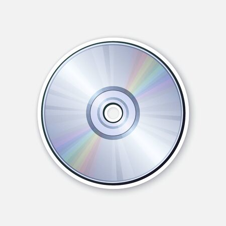 Vector illustration. Compact disc with rainbow reflection. Optical laser disk. Modern storage of digital information. CD or DVD. Sticker with contour. Isolated on white background Vektorové ilustrace