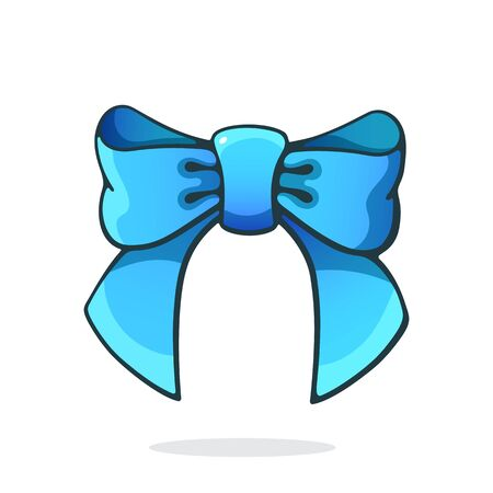 Vector illustration. Blue bowknot ribbon. Hair accessory for girls. Graphic design with contour. Clip-art print for packaging, showcase, greeting card. Isolated on white background Standard-Bild - 137952231