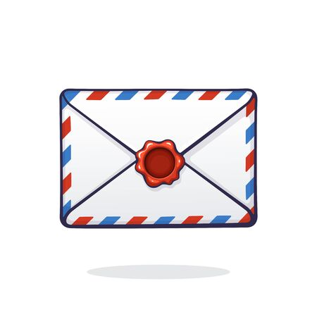 Vector illustration. Closed mail white envelope with red and blue stripes and red wax seal. Not read incoming message. Symbol of communication. Graphic with contour. Isolated white background