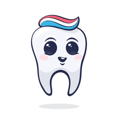 Vector illustration. Happy smiling healthy baby human tooth with eyes and toothpaste. Symbol of somatology and oral hygiene. Graphic design with contour for packaging. Isolated on white background