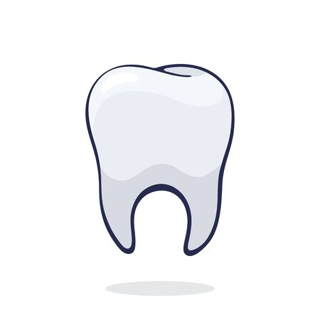 Vector illustration. Clean healthy human tooth. Symbol of somatology and oral hygiene. Graphic design with contour. Clip art print for packaging, signboard, showcase. Isolated on white background