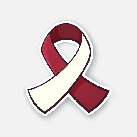 Vector illustration. Burgundy and ivory color ribbon, international symbol of head and neck cancer awareness. Sticker with contour. Isolated on white background