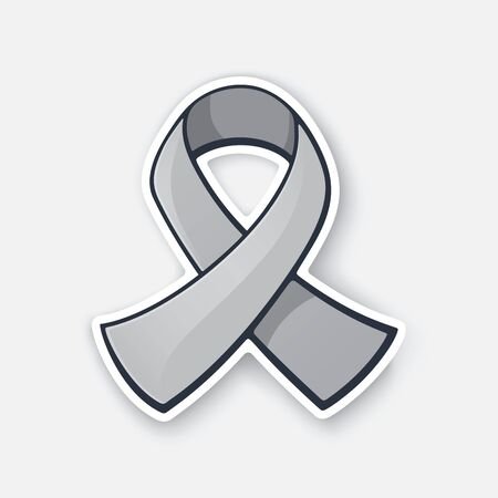 Vector illustration. Grey color ribbon, international symbol of brain tumor awareness. Sticker with contour. Isolated on white background