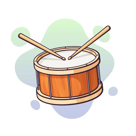Vector illustration. Classical drum with crossed wooden drumsticks. Percussion musical instrument. Blues, jazz or rock equipment. Clip art with contour for graphic design. Isolated on white background