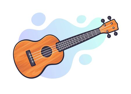 Vector illustration. Classical acoustic guitar or ukulele. String plucked musical instrument. Blues or rock equipment. Clip art with contour for graphic design. Isolated on white background Ilustração