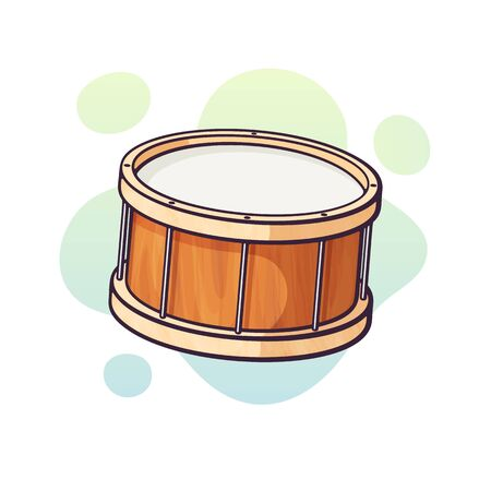 Vector illustration. Classical wooden drum. Percussion musical instrument. Blues, jazz, ska, orchestral or rock equipment. Clip art with contour for graphic design. Isolated on white background