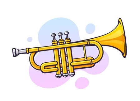Vector illustration. Classical music wind instrument trumpet. Blues, jazz or orchestral equipment. Clip art with contour for graphic design. Isolated on white background Ilustração