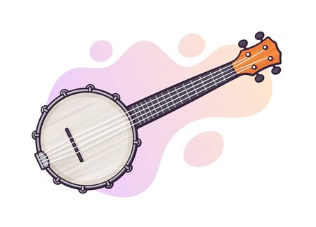 Vector illustration. Guitar for country music banjo. String plucked musical instrument. Blues, country, folk or jazz equipment. Clip art with contour for graphic design. Isolated on white background