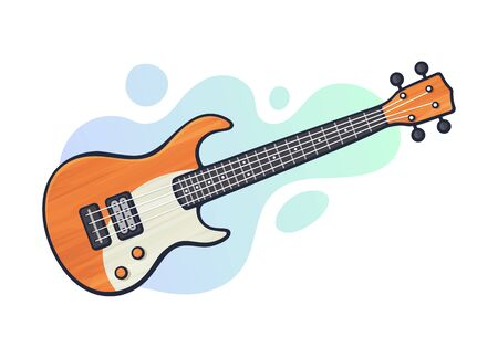 Vector illustration. Rock electro or bass guitar. String plucked musical instrument. Blues, jazz, ska, metal or rock equipment. Clip art with contour for graphic design. Isolated on white background
