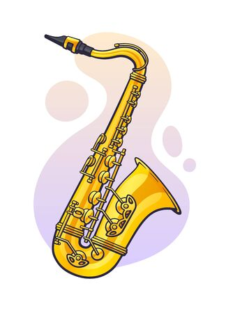 Vector illustration. Classical music wind instrument saxophone. Blues, jazz, ska, funk or orchestral equipment. Clip art with contour for graphic design. Isolated on white background Ilustração