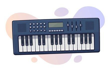 Vector illustration. Electronic keyboard musical instrument synthesizer. Modern electro piano. Pop, disco, dance, jazz equipment. Clip art with contour for graphic design. Isolated on white background