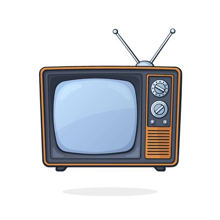 Vector illustration. Analogue retro TV with antenna, channel and signal selector. Television box for news and show translation. Clip art with contour for graphic design. Isolated on white background Ilustração