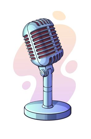 Vector illustration. Monochrome retro microphone for voice, music, sound, speak, radio recording. Jazz, blues, rock vintage mic. Clip art with contour for graphic design. Isolated on white background