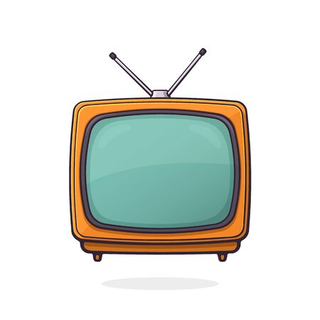 Vector illustration. Analogue retro TV with antenna and orange plastic body. Television box for news and show translation. Clip art with contour for graphic design. Isolated on white background