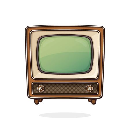 Vector illustration. Analogue retro TV with wooden body, signal and channel selector. Vintage television box for video translation. Outline clip art for graphic design. Isolated on white background