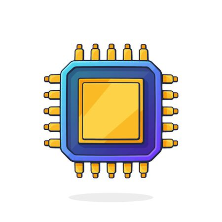Vector illustration. Electronic Integrated circuit top view. Computer microchip or nano processor. Artificial intelligence at future technology. Clip art with outline. Isolated on white background Ilustração