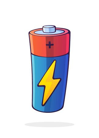 Vector illustration. Alkaline battery with charging electric lightning symbol. Power technology. Energy accumulator for charging electrical device. Cartoon clip art isolated on white background Ilustração