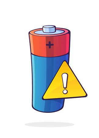 Alkaline electric battery with yellow warning sign and exclamation mark inside. Low accumulator warning. Cartoon vector illustration with outline. Clip art isolated on white background