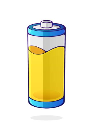 Vector illustration. Yellow color of the energy status of electrical device accumulator. Used charge level battery indicator. Power technology. Cartoon clip art isolated on white background