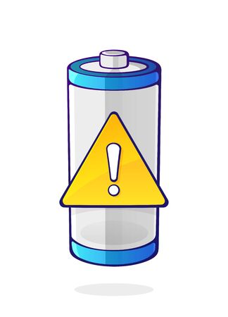 Vector illustration. Warning energy status of electrical device accumulator. Empty charge level battery indicator with yellow warning sign. Cartoon clip art isolated on white background