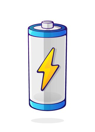 Vector illustration. Charging energy status of electrical device accumulator. Empty charge level battery indicator with yellow lightning sign. Cartoon clip art isolated on white background Ilustração