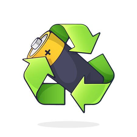 Green recycling symbol with used alkaline battery inside. Problems of waste processing, ecology and saving the Earth. Cartoon vector illustration with outline. Clip art Isolated on white background Иллюстрация