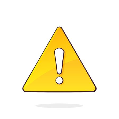 Yellow warning sign and exclamation mark inside. Triangular attention symbol, information signal about problem. Cartoon vector illustration with outline. Clip art Isolated on white background